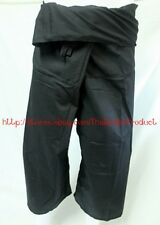 Black Thai Fisherman Pants Trouser YOGA Massage Rayon Cotton Long Warp Unisex