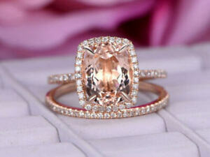 3 Ct Oval Morganite & Diamond Half Eternity Bridal Ring Set 14k Rose Gold Over