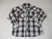 Wrangler Pearl Snap Shirt Adult 2XL XXL Brown Red Plaid Rodeo Cowboy Western Men