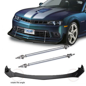 Front Bumper Lip Splitter Spoiler + Strut Rods For Chevrolet Camaro SS 1LE ZL1