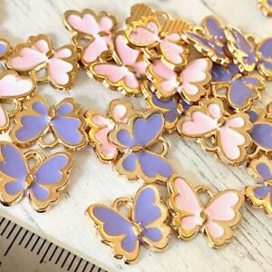 Butterfly Lilac Pink Enamel Charms Spacers Valentine Tibetan Charm Beads