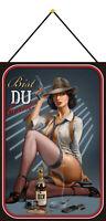 Gangster Gin Pin Up Girl Schild mit Kordel Metal Tin Sign 20 x 30 cm CC0314-K