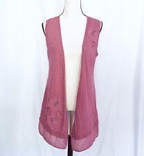 LOGO by lori goldstein women's dusty rose embellished vest size S
