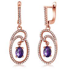 2.94 Ct Checkerboard Purple Amethyst 18K Rose Gold Plated Silver Dangle Earrings