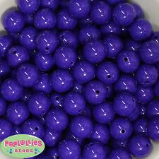 16mm Dark Purple Acrylic Solid Bubblegum Beads Lot 20 pc.chunky gumball