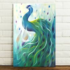 Unframed Canvas Prints Modern Home Decor Wall Art Picture-Fantasy Green Peacock