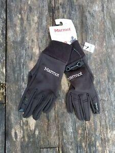 Marmot medium touch screen stretch black gloves NWT