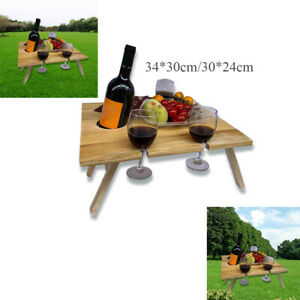 Wood Outdoor Picnic Table Portable Folding Wine Glass Holde for Garden Party