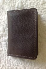 Trifold Wallet - USA Made - DK BROWN SOFT real LEATHER ID Window, Credit Card