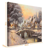 40x30cm LED Christmas Snow Canvas Art Picture Print Home Wall Decor Batter/Plug