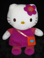 Doudou Peluche Hello Kitty blanc rose fushia robe sac orange Sanrio Jemini 27 cm