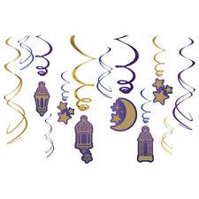 RAMADAN Eid Mubarak HANGING SWIRL DECORATIONS (12pc) ~ Birthday Party Supplies