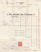 The Alnwick Gas Company 1942 Gas Used Readings Invoice & Stamp Receipt Ref 38823