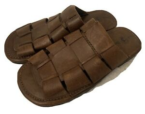 NEW Mens Leather Fisherman Sandals Sz 8 Brown Slides Casual Summer Duck Head