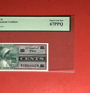 661 SERIES 5c Military Payment CERTIFICATE,PCGS GRADED SUPERB GEM NEW 67PPQ