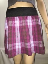 Xhilaration Mini Skirt Cute Purple And Black Plaid Skater Style Stretch - Medium