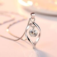 Twisted Pearl Zircon Pendant 925 Sterling Silver Chain Necklace Womens Jewellery