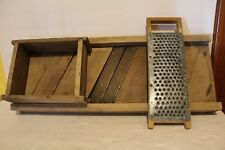 Vintage Wooden 2 Blade Sauerkraut Cabbage Slicer w/Sliding Box & Cheese Grater