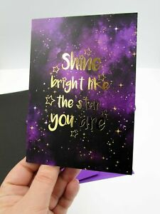 Shine Like The Star You Are Good Luck Manifestation Card, Celestial Greetings Ca
