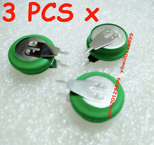 3 x New 1.2V 80mAh Button Battery Ni-MH Rechargeable With 2 Solder Tabs Pins