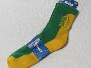 NEW NBA BASKETBALL Logoman Player Crew Socks Mens Large Size GREEN & GOLD
