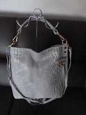 Damen Tasche, Echt Leder, Farbe Hellgrau - Krokooptik - Neu - Made in Italy
