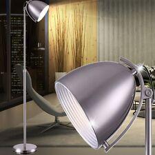 DESIGN Stand-Lese Lampe Steh-Leuchte Nickel matt Teleskop-verstellbar 112-170cm