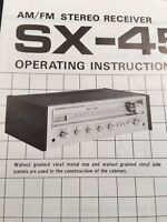 Pioneer SX-450 Stereo Receiver ORIGINAL Owners Manual Rare Must Have