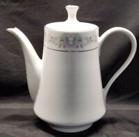 "VTG Crown Ming  Fine China Jian Shiang 8 1/2"" Coffee Tea Pot Home Decor Floral"