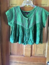 Sacred Threads Embroidy Green Button Down Yoke Front-Rayon Tunic Top-Sz Fits All