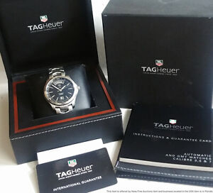 Tag Heuer Calibre 5 WJF2010 Automatic Black Dial Date Mens Watch Box Papers