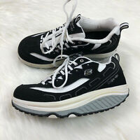 SKETCHERS Women's Shape Ups Shoes Comfort Sneakers Black White Size 9.5