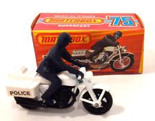 Vintage 1977 Matchbox 75 Police Motor Cyclist #33 White Honda 750 Motorcycle