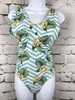 Women's Marilyn Monroe Tropical Flattering Ruching One Piece Swimsuit Size Large