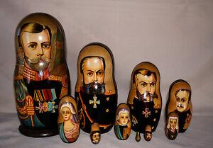 """MATRYOSHKA NESTING DOLLS """"ROMANOV DYNASTY CZARS FAMILY"""" 10 PIECES 10.25"""" TALL"""