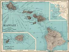 1902 Antique HAWAII State Map Original Map of Hawaii Hawaiian Islands Map 8209