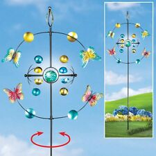 5 Foot Tall Glow-In-The-Dark Butterfly Two Way Outdoor Garden Wind Spinner