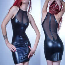 Ladies Wetlook Midi Clubwear Womens PVC Leather Mesh Sheer Stretch Bodycon Dress
