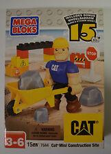 Mega Bloks CAT Mini Construction Site #7844 Include Bonus Wheelbarrow New Sealed