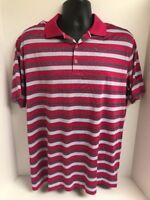 Nike Golf Tour Performance Dri Fit Polo Shirt Pink Gray Striped Mens Sz LARGE