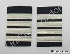 Epaulette Pilot Captain First officer Silver 4 Bars on Navy Blue R1059
