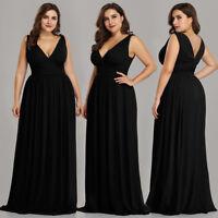 Ever Pretty US Plus Long V Neck Evening Dress Sleeveless Black Formal Gown 09016