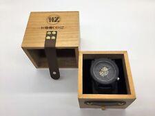 Woodenz Handcrafted Ebony Wood Watch, Japanese Quartz, Genuine Leather Strap