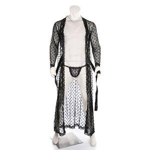 Lace Men Robe Gown Bathrobe Nightwear See Through Underwear Pajamas Lingerie