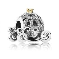 925 Silver Charm For Girl Cinderella Pumpkin Coach Disney Charm Bead Authentic