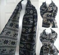 women's men's reindeer snowflake knit long soft scarf stole wrap shawl UNISEX