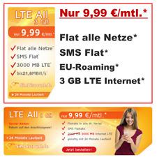 Handyvertrag mit LTE 3 GB Internet Flatrate Sim Only Tarif Vertrag Allnet Flat