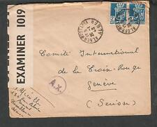 Wwii Pc90 & German Ax censor cover Algeria Alger Mustapha to Red Cross Geneva
