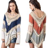 Fashion Women Lace Crochet Hollow Bikini Cover Up Swimwear Beach Dress Wear Top