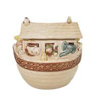 """Metlox Noahs Ark Cookie Jar 9.5"""" Brown Pastels Ceramic"""